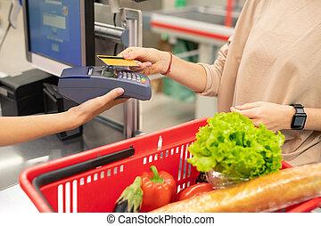 支払い, カード, スーパーマーケット, クレジット