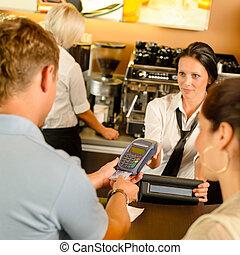 支払う, クレジット, カフェ, カード, 人