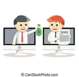 支払う, 人, 税, ビジネス, オンラインで