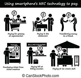 支払う, 電話, nfc, cliparts