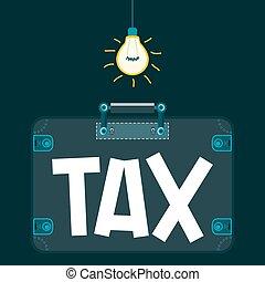 """支払う, taxation., 部屋, taxes., """"tax"""", ライト, スーツケース, business., 暗い, 脱出, 下に, 犯罪者, bulb."""