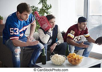 支持, グループ, フットボール, 一緒に, チーム, 友人