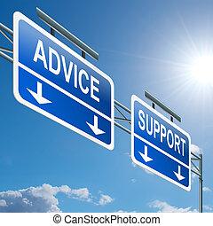 支持, 以及, advice.