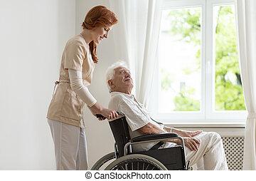 支持, 微笑, 車椅子, 不具, シニア, 看護婦, 人
