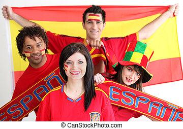 支持, 若い, スペイン, 人々