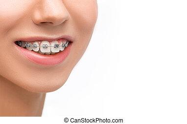 支柱, 歯, 美しい女性, 若い