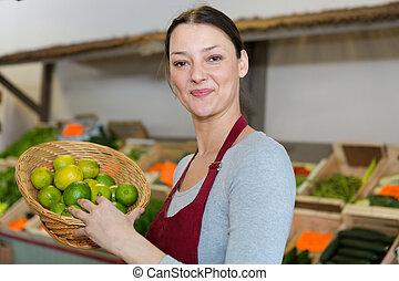 支部, 農夫, 販売, 新しい 市場, 野菜, 女