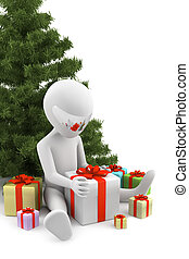 收到, image., 背景, gifts., 白色, 人, 3d