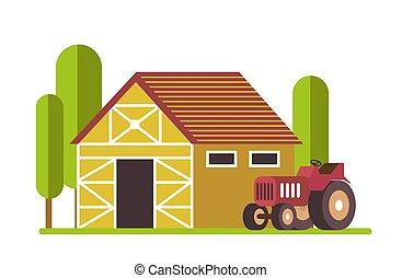 收穫者, 拖拉机, 穀倉, 農業, 或者, 農場, 老