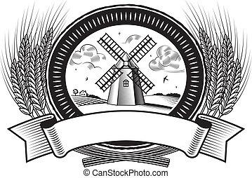收穫, b&w, 穀物, 標簽