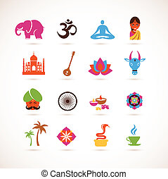 收集, 在中, 印度, 矢量, 图标