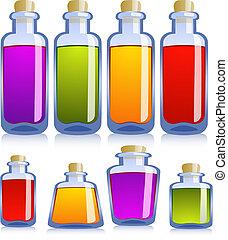 收集, 在中, 各种各样, 瓶子