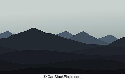 收集, 在中, 山地形, 矢量