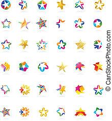 收集, 在中, 星, 图标, 矢量