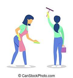 收集, housework., 清扫妇女, set.