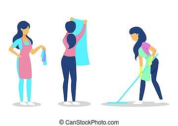 收集, set., 妇女, 打扫, housework.