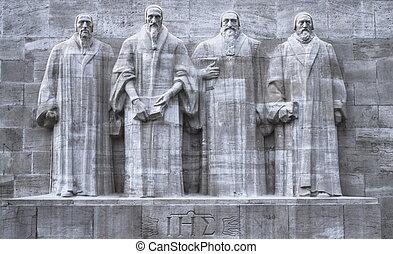 改革者, 墙壁, 日内瓦, 瑞士, hdr