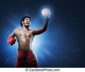 攻撃的である, アジア 人, ボクサー, ∥で∥, 手袋, 訓練, 投げる, パンチ