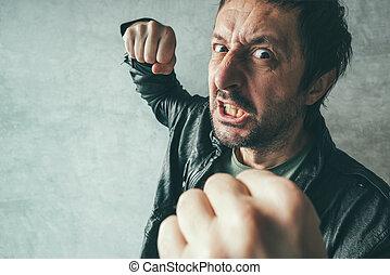攻撃的である, 人, 強打する, ∥で∥, 握りこぶし, victim's, pov
