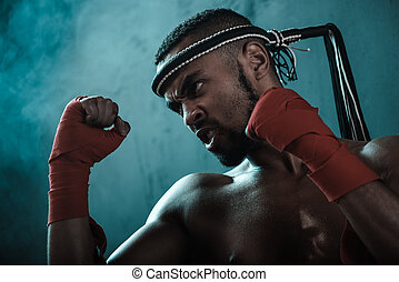 攻撃的である, 若い, muay, タイ人, ボクサー, 訓練, タイ人, ボクシング, ultimate, 戦い, 概念
