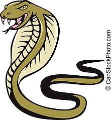 攻撃, コブラ, ヘビ, 毒蛇, 漫画