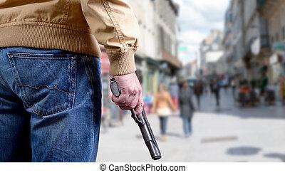 攻撃, 公衆, キラー, 人, 場所, 銃