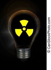 放射性, ライト, シンボル, バックグラウンド。, 黒, 核, 前部, 電球