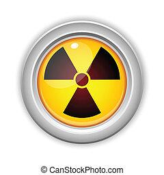 放射性, 危険, 放射, button., 黄色, 注意