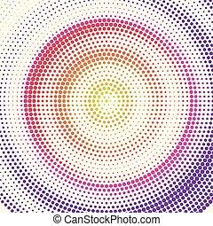 放射状, eps10., レトロ, バックグラウンド。, 有色人種, イラスト, ベクトル, パターン, 色, dots., halftone