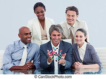 放射, ビジネス チーム, モデル, 中に, オフィス