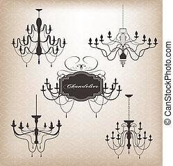 放置, 在中, 不同, chandelier.