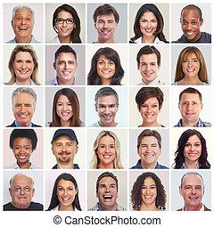 放置, 在中, 人们, faces.