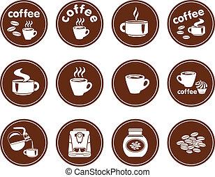 放置, 在中, 咖啡, 图标