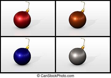 放置, 在中, 圣诞节, 球