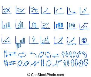 放置, 在中, 心不在焉地乱写乱画, sketched, 手, 画, 商业, 管理, infographics, 元素, 图标, 箭, charts., 隔离, 在怀特上, 背景。