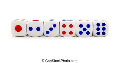 放置, 在中, 白色, 骰子, 在上, a, 白的背景
