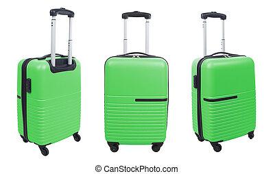 放置, 在中, 绿色的小提箱, 隔离, 在怀特上, 背景。