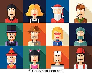放置, 在中, 隔离, 套间, 设计, 人们, 图标, avatars, 为, 社会, netwo