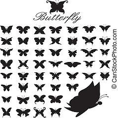 放置, 在中, 50, butterflies.