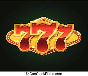 放置, 在中, 777, 金子, 娱乐场, jackpot, 签署
