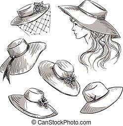 放置, 在中, hats., 女孩, 在中, a, hat., 方式