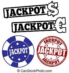 放置, 在中, jackpot, 邮票