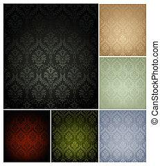 放置, 墙纸, seamless, 模式, 颜色, 六