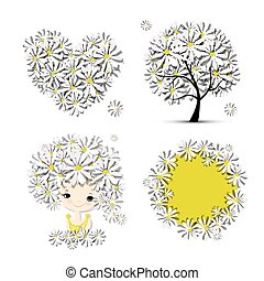 放置, 心, 框架, -, 树, 女孩, 设计, 植物群, 你