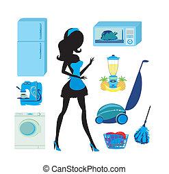 放置, -, 打扫, 厨房, 家具