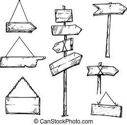 放置, 木制, 描述, 手, 矢量, 箭, 画, 签署