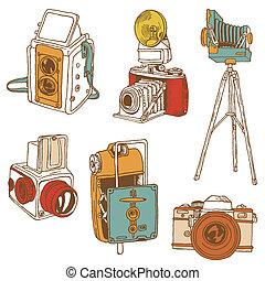 放置, 照片, cameras, -, hand-drawn, 矢量, doodles