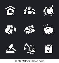 放置, 矢量, 爆破, icons.