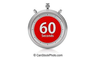 放置, 秒, 隔离, 60, 记时计, 白色, 银
