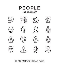 放置, 线, 图标, 在中, 人们